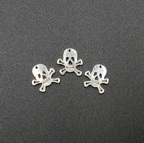 Skull and Crossbones Silver-Plated Pewter Charm