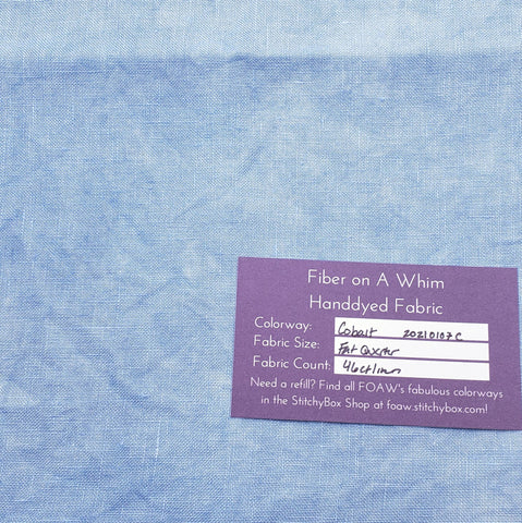 Cobalt 46 Count Handdyed Linen Fat Quarter - Fiber on a Whim Ready to Ship