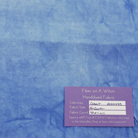 Cobalt 40 Count Handdyed Linen Fat Quarter - Fiber on a Whim Ready to Ship