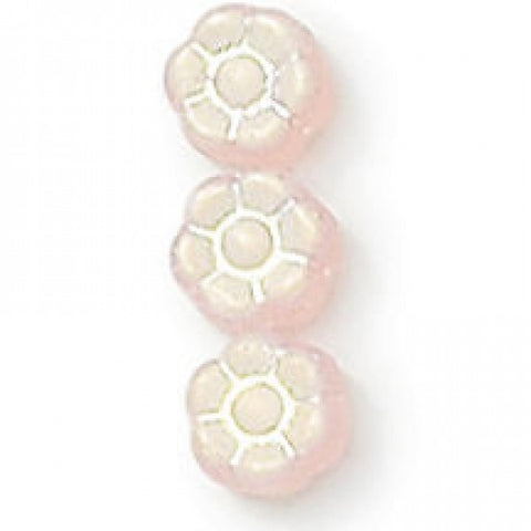 6mm Czech Glass Flower Beads - Frosted AB Pink