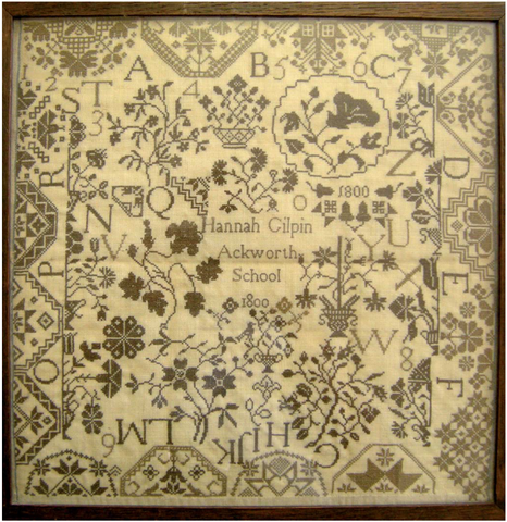 Hannah Gilpin 1800 Reproduction Quaker Sampler - StitchyBox Samplers Cross Stitch Chart