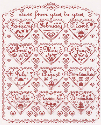 Love From Year to Year cross stitch chart - Annick Abrial
