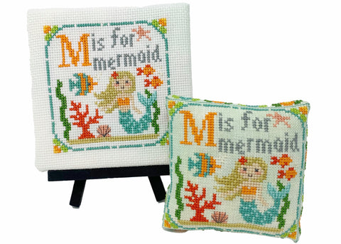 M is for Mermaid - Happy Alphabet #13 - Cross Stitch Design by Tiny Modernist
