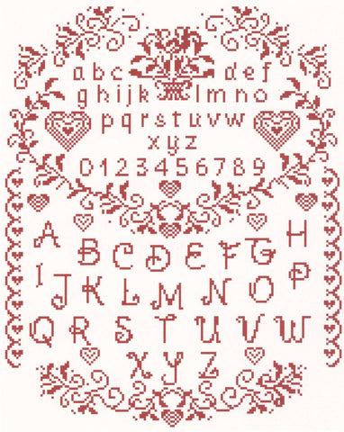 Romantic Sampler cross stitch chart - Annick Abrial