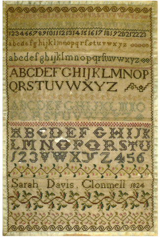 Sarah Davis Clonmel 1824 Reproduction Sampler - StitchyBox Samplers Cross Stitch Chart