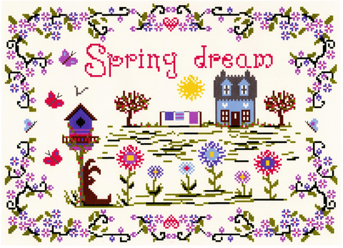 Spring Dream cross stitch chart - Annick Abrial