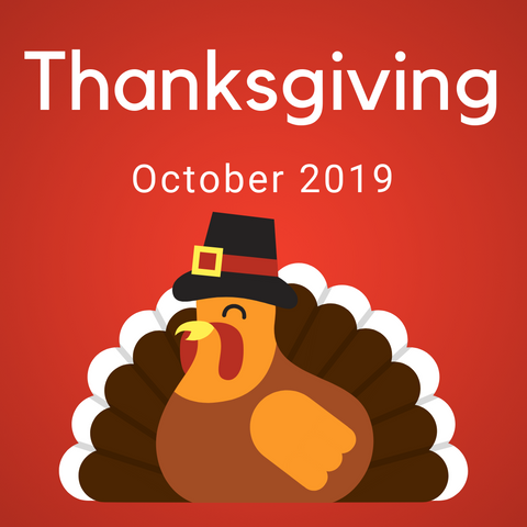 Thanksgiving Color Countdown Shipment - October 2019