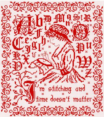 I'm Stitching and Time Doesn't Matter cross stitch chart - Annick Abrial