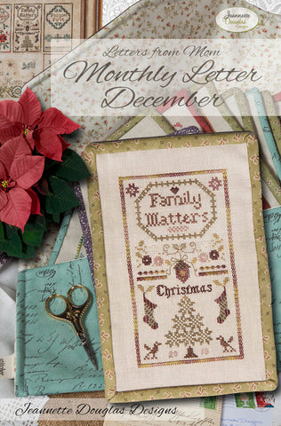 Letters from Mom - December Cross Stitch Chart - Jeannette Douglas Designs
