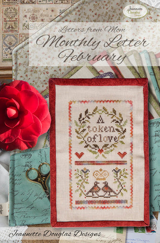 Letters from Mom - February Cross Stitch Chart - Jeannette Douglas Designs