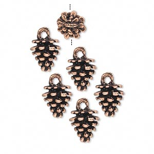 Antique Copper-Plated Pewter Fir Cone Charm