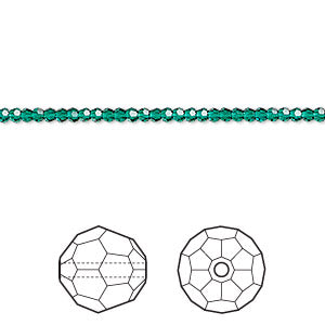 2mm Swarovski Faceted Rounds - Emerald