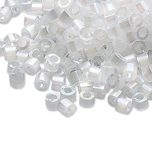 Delica 11/0 Seed Beads - Opaque Silk Rainbow White