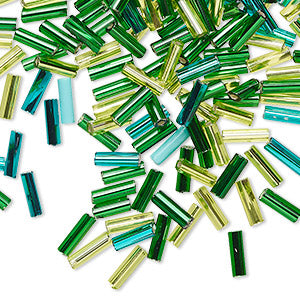 Czech Bugle Beads - Green Mix