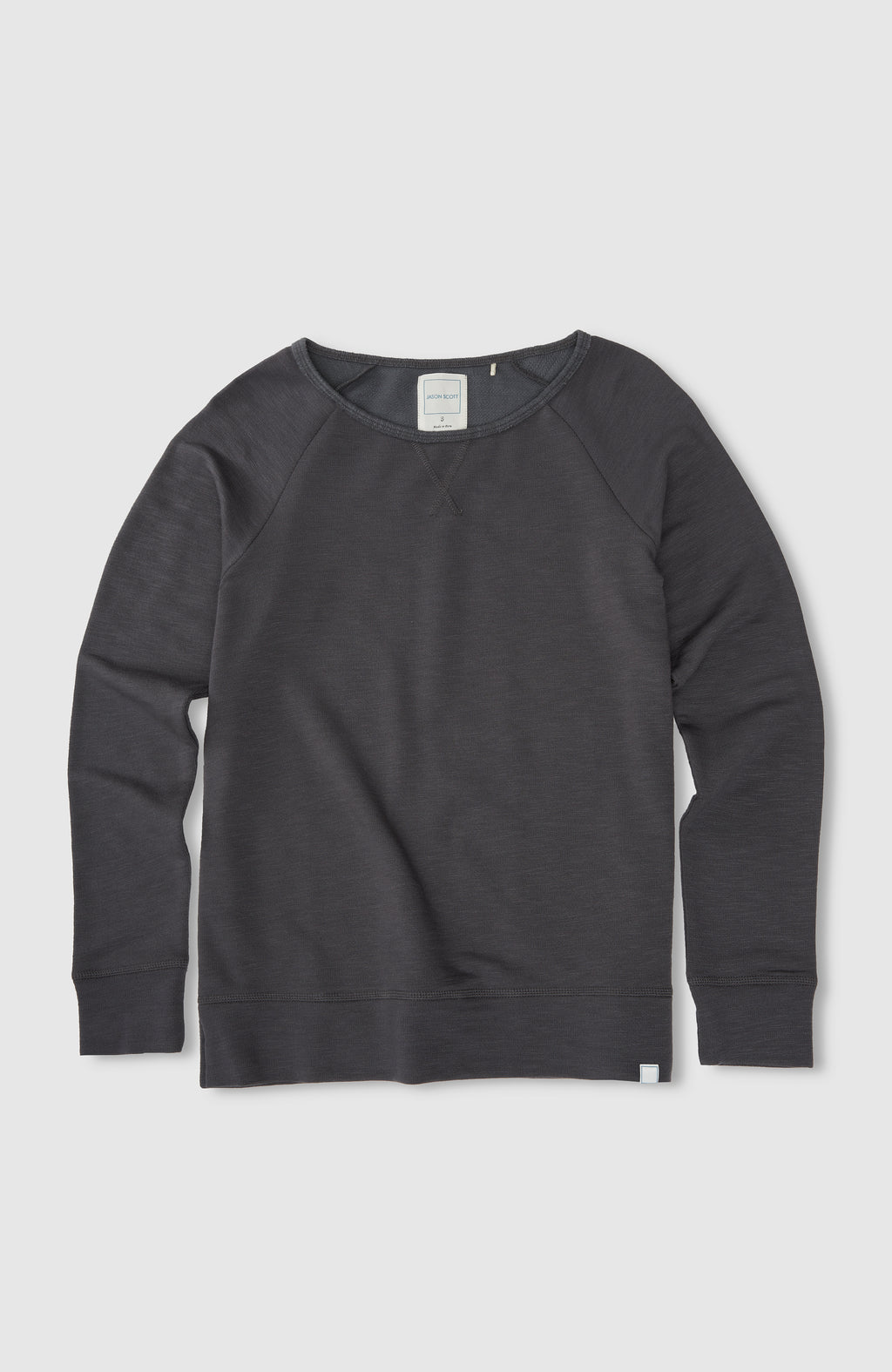 Wide Neck Sweatshirt - Charcoal