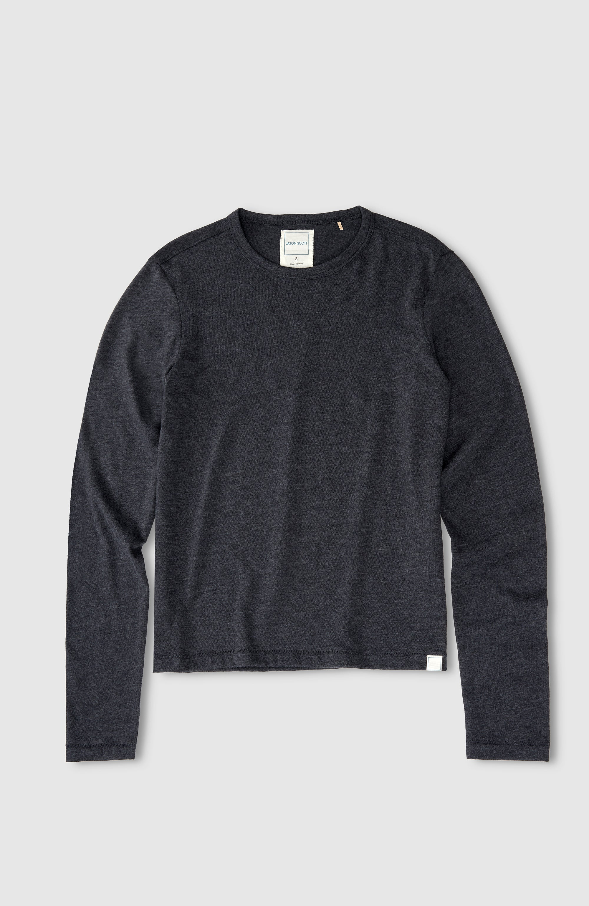L/S Shrunken Crew - Heather Charcoal
