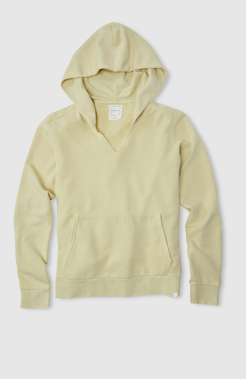 Split Neck Hoodie - Washed Citron Multi