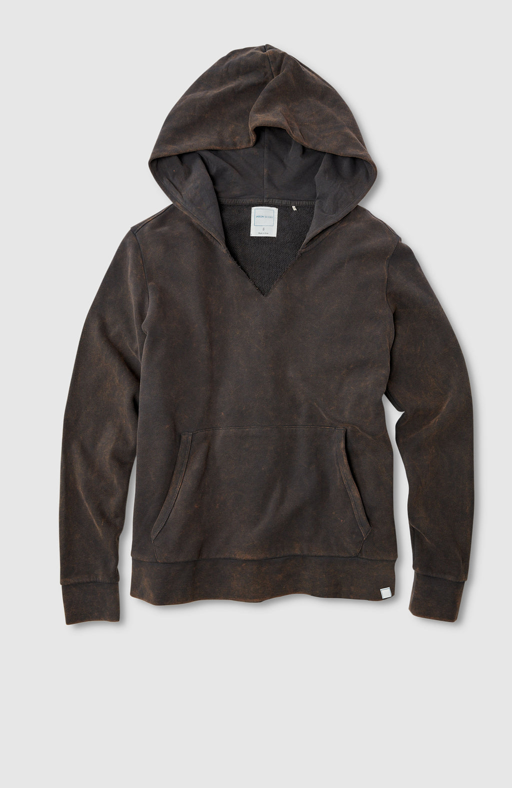 Split Neck Hoodie - Charcoal Multi