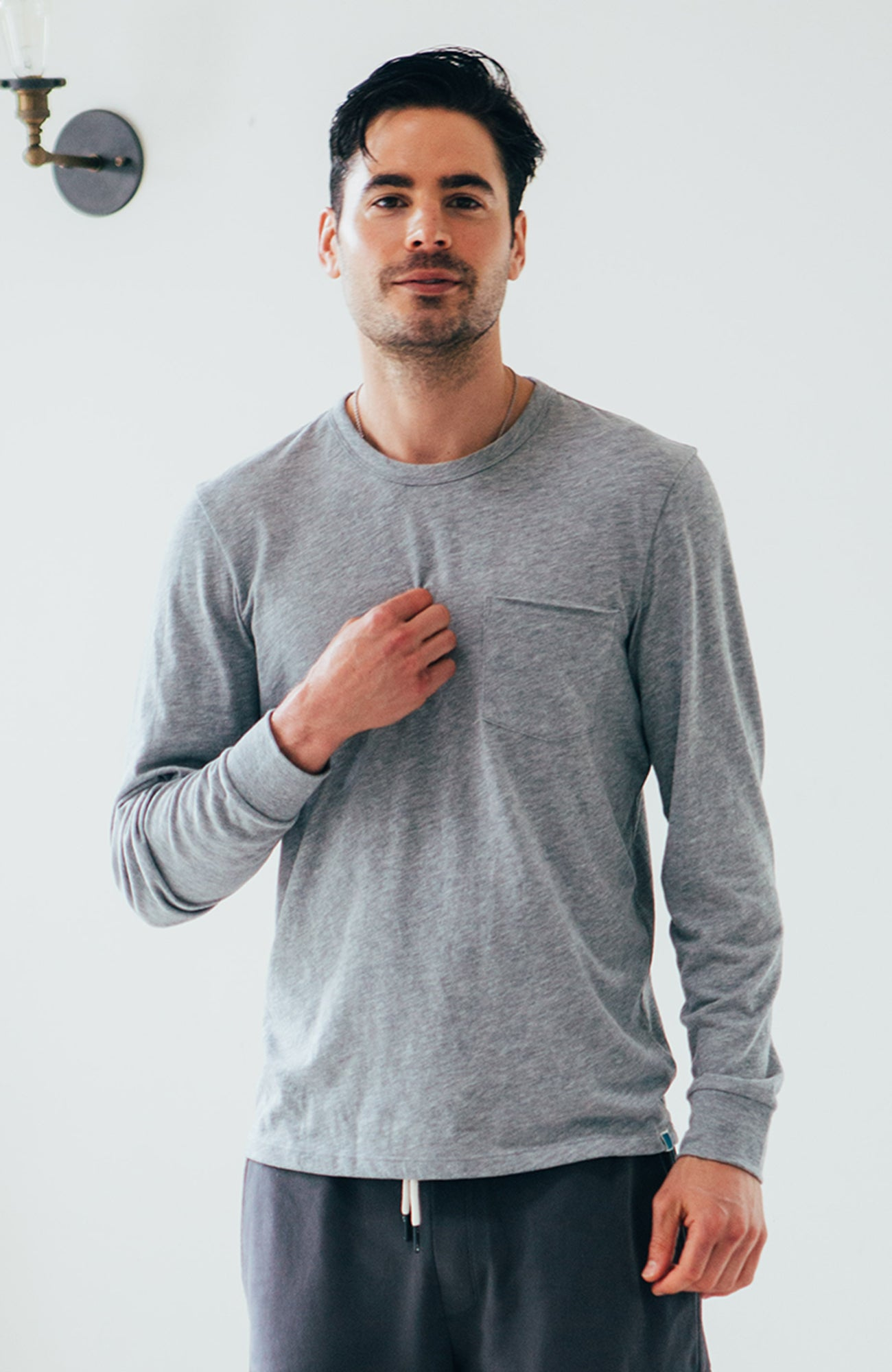 Yale L/S Crew - Heather Grey