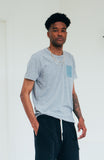 Blue Square Tee - Heather Grey