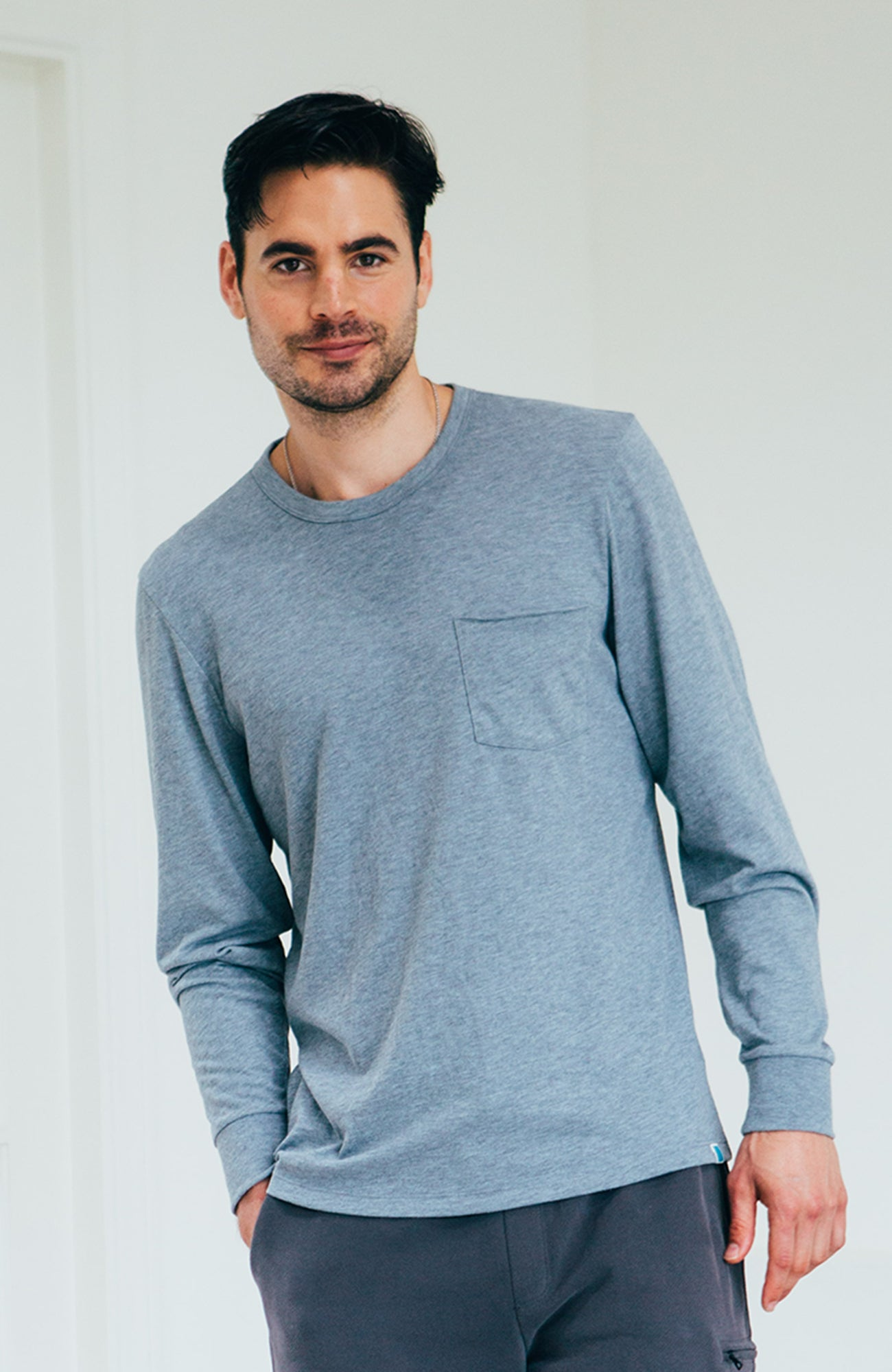 Yale L/S Crew - Heather Dusty Blue
