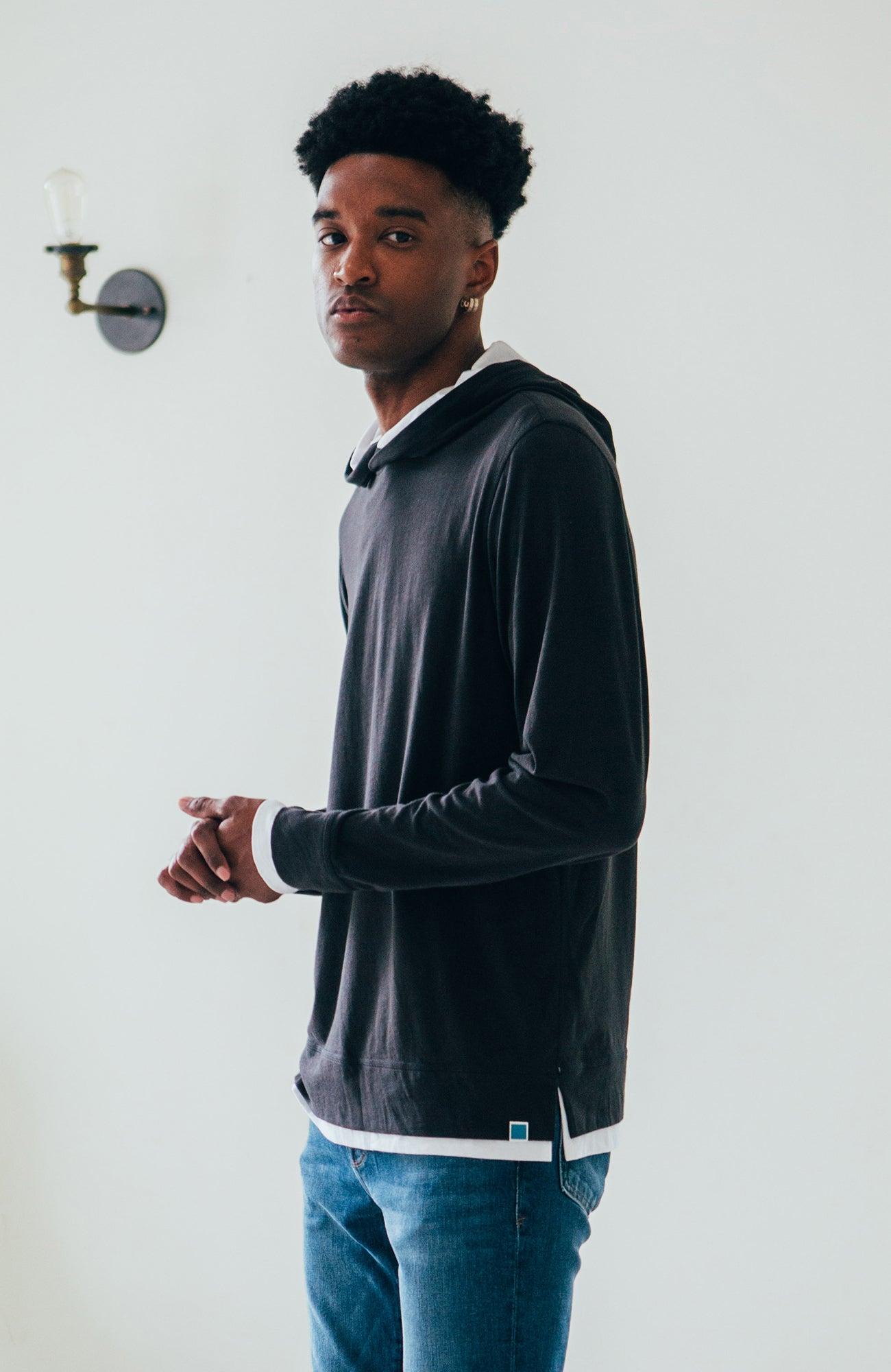 Double Layer Hoodie - Black/White
