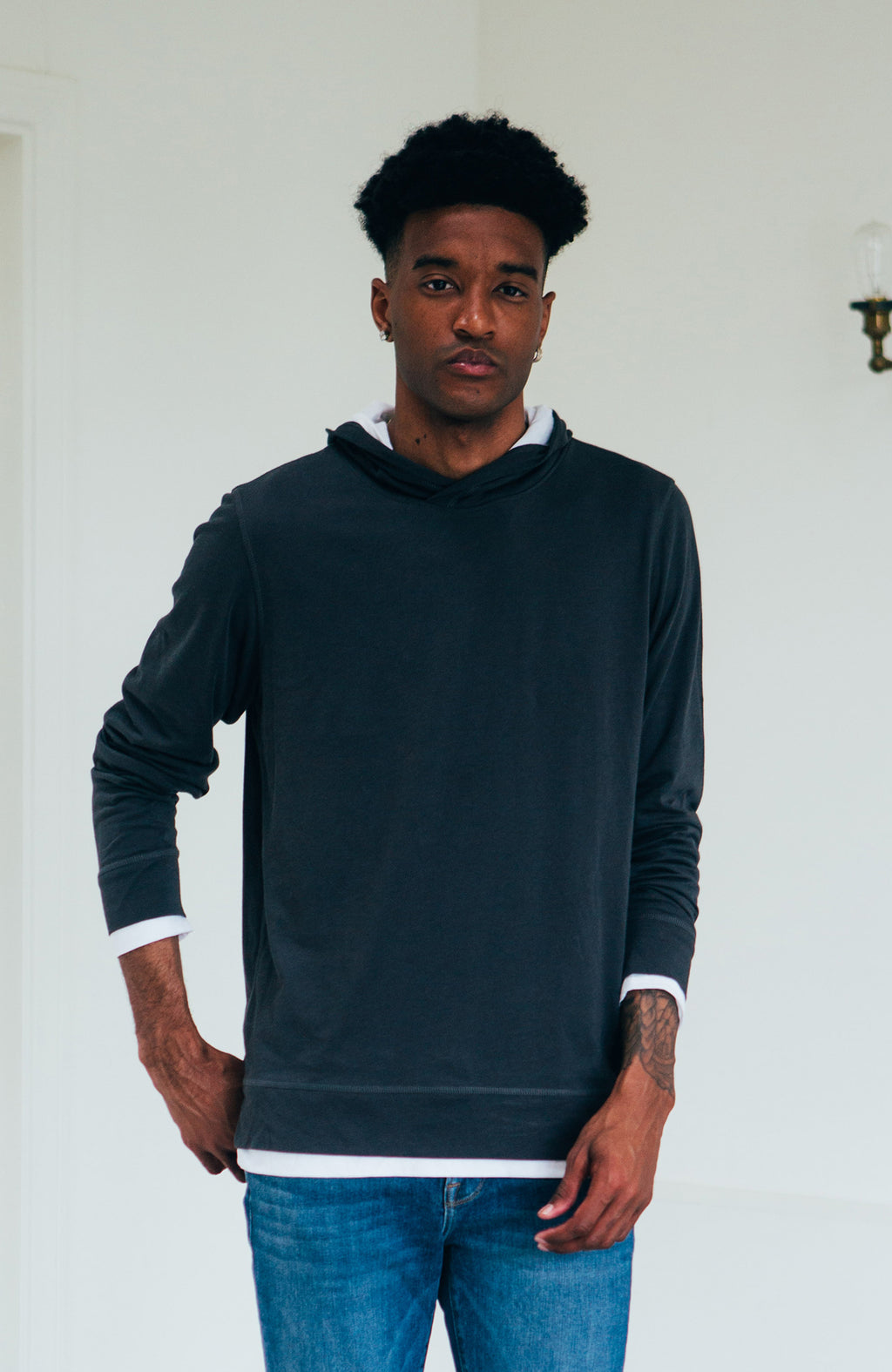 Double Layer Hoodie - Charcoal/White