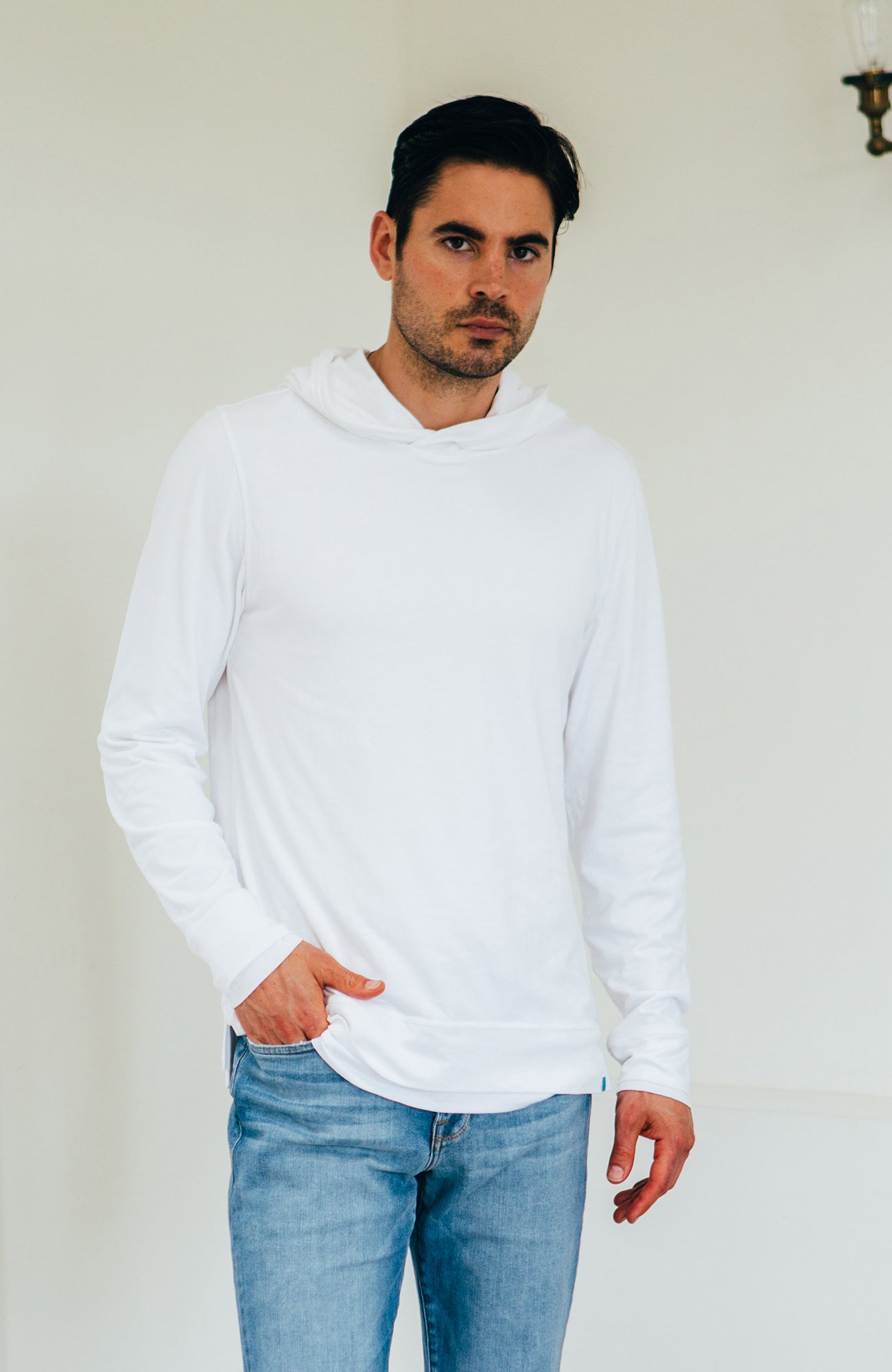 Double Layer Hoodie - White/White