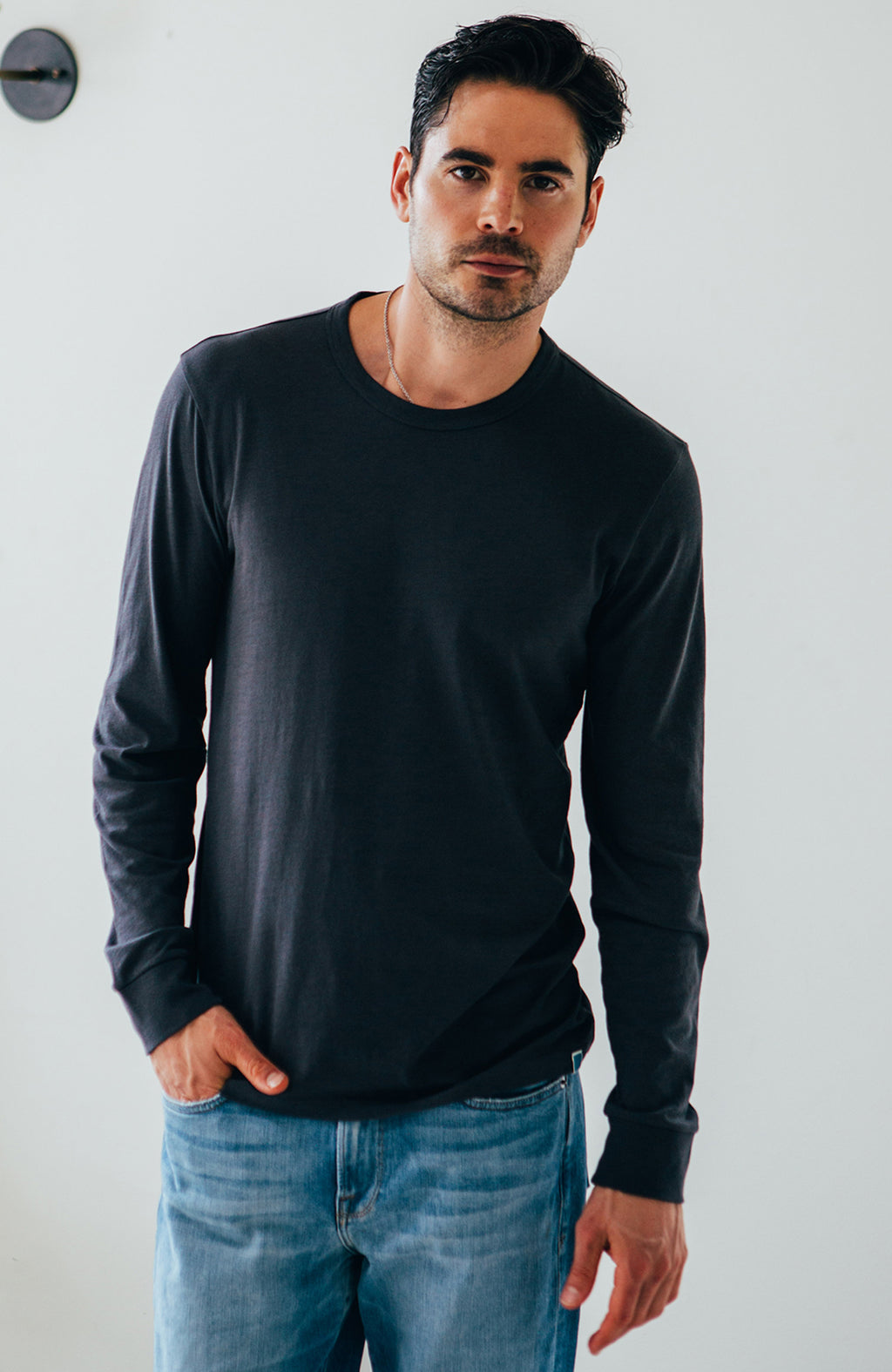 L/S Crew lightweight jersey - Charcoal