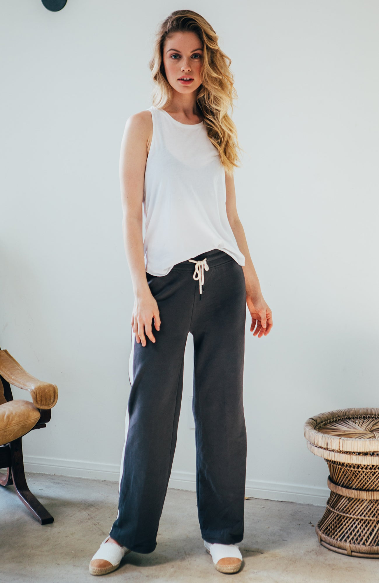 Colorblock Wide Leg Pants - Charcoal
