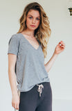 Oversized V Neck - Heather Grey