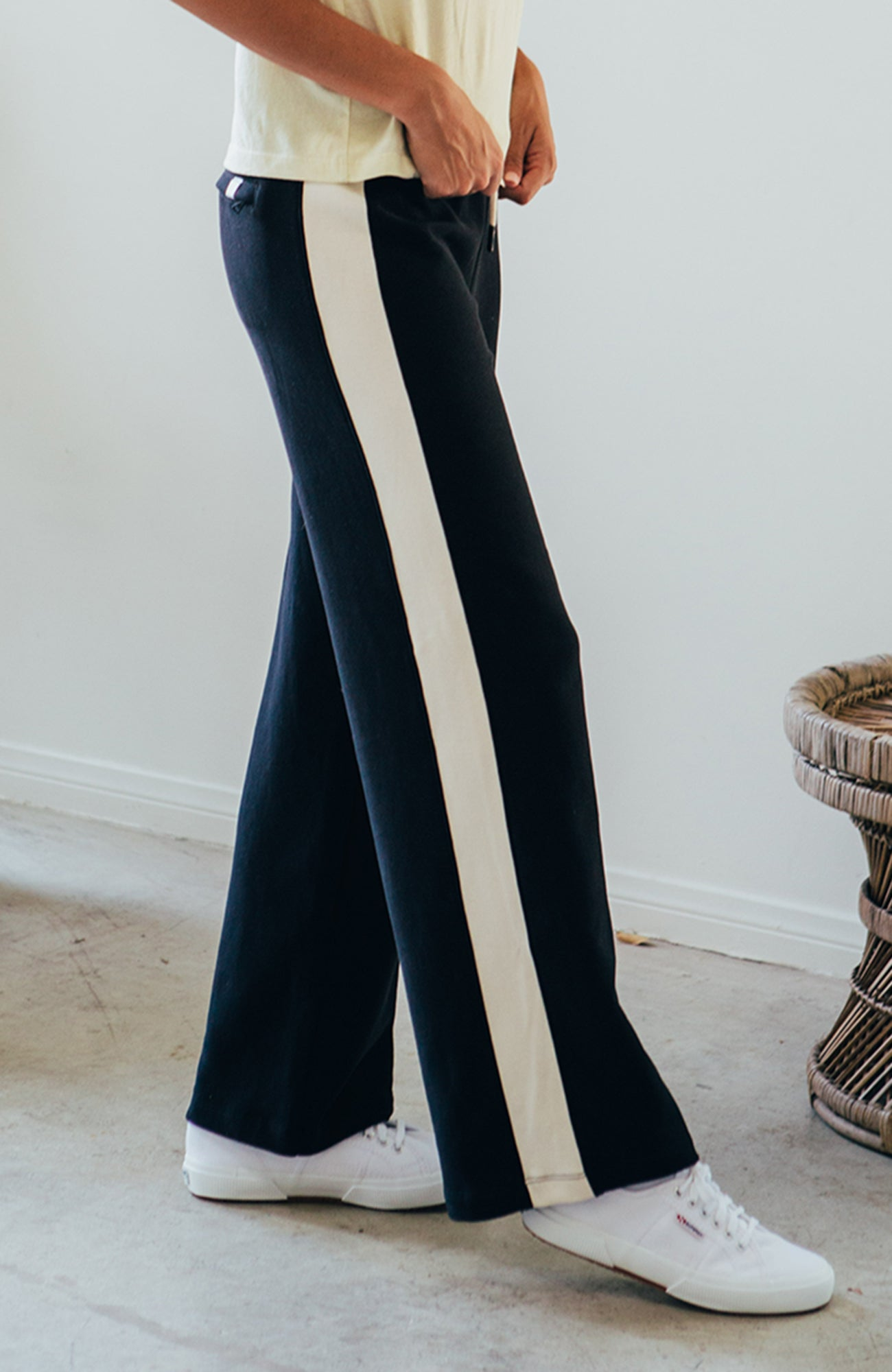 Colorblock Wide Leg Pants - Black