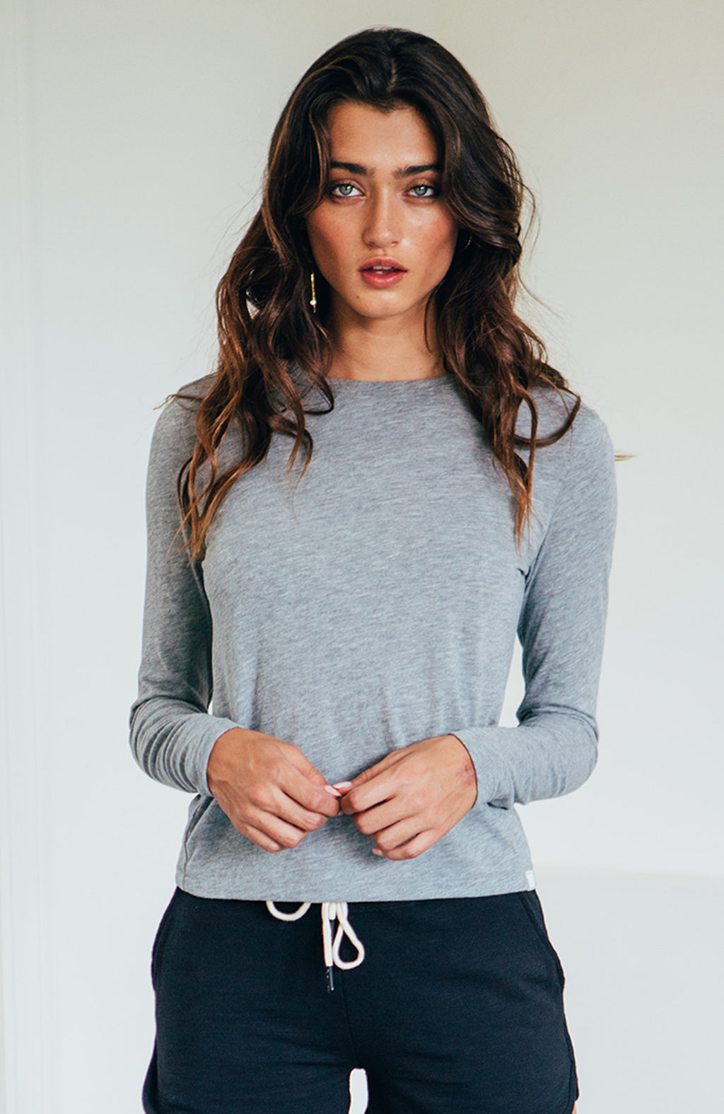 L/S Shrunken Crew - Heather Grey