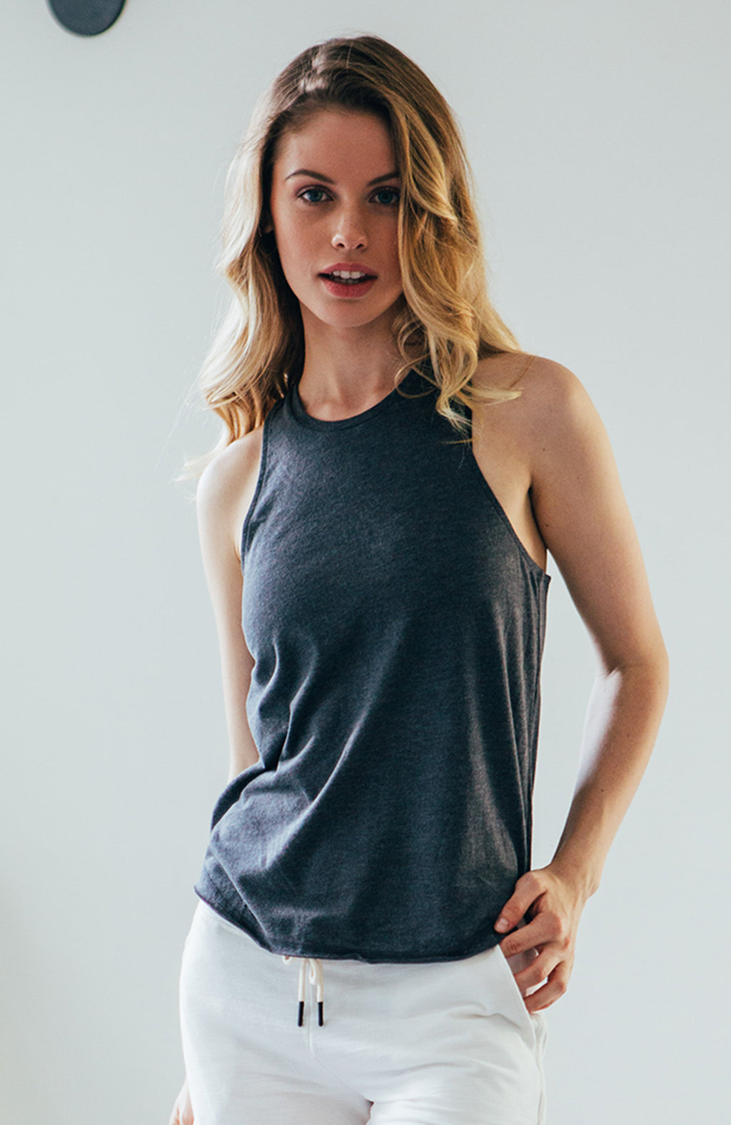 High Neck Tank - Heather Charcoal