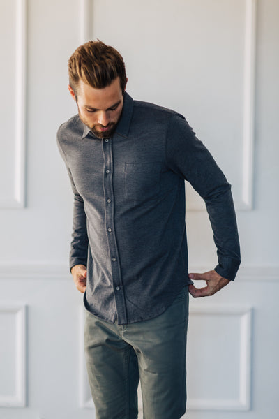 Wilson Button Down - Charcoal