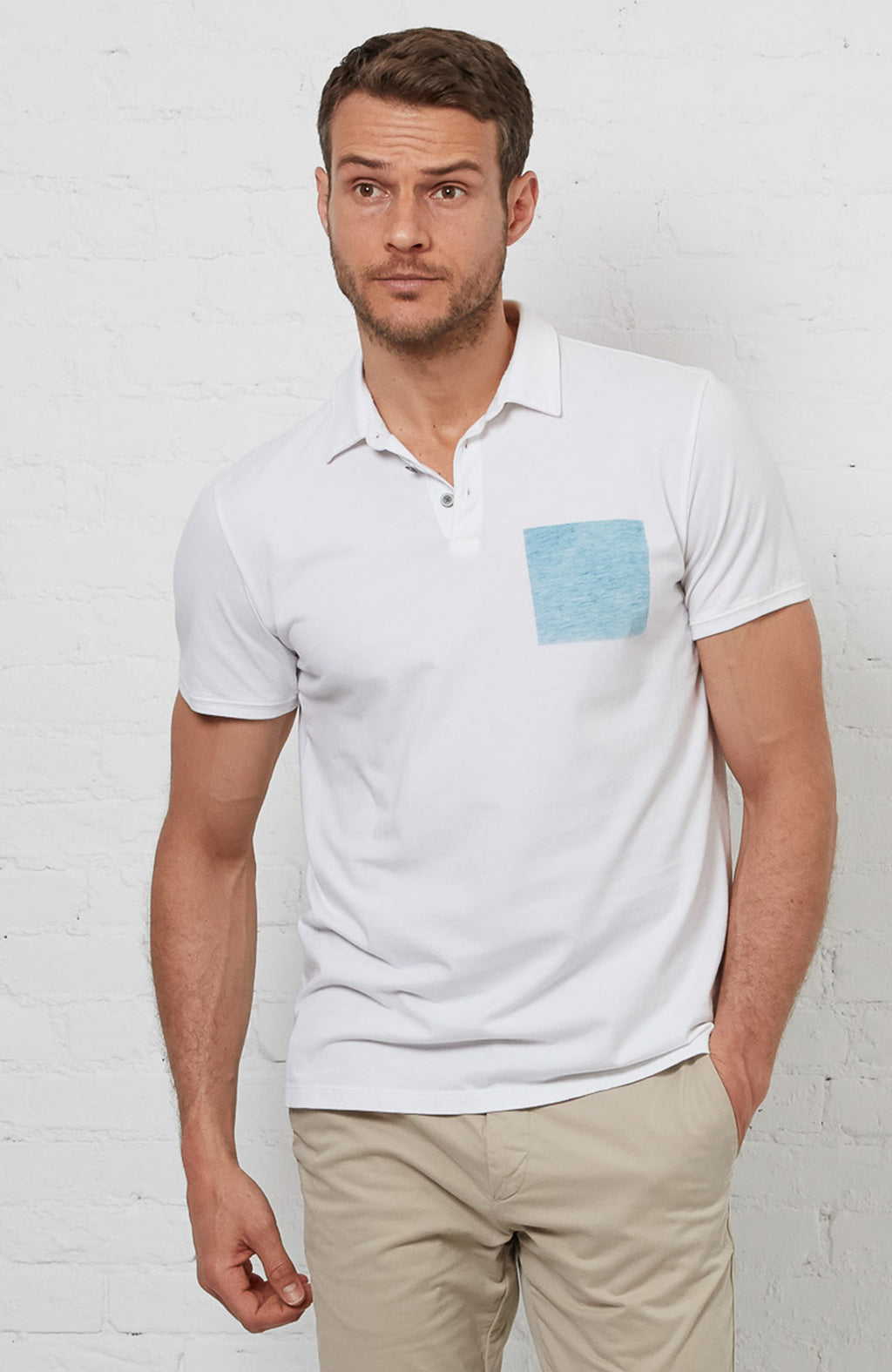 Blue Square Polo - White