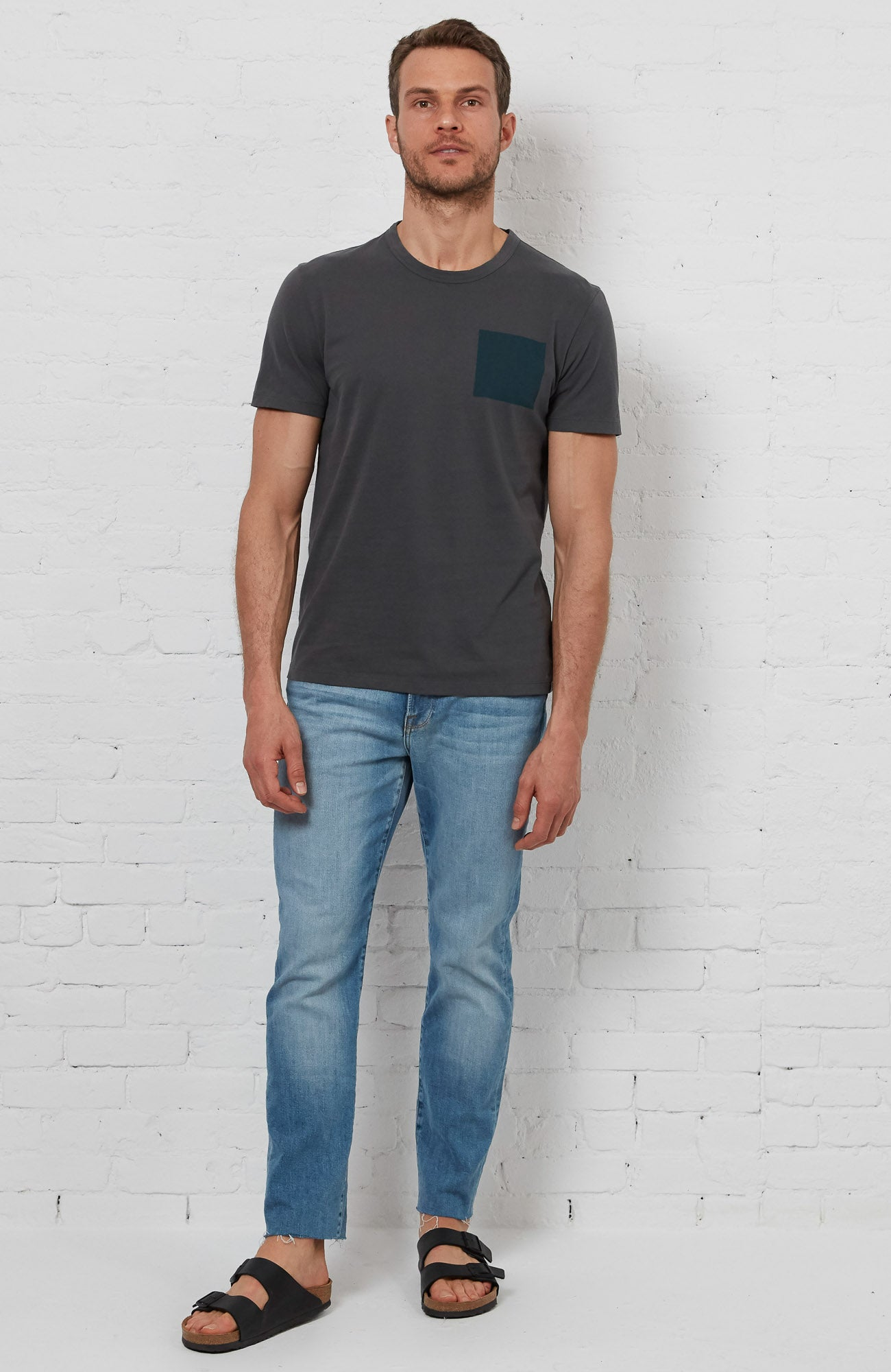 Blue Square Tee - Charcoal