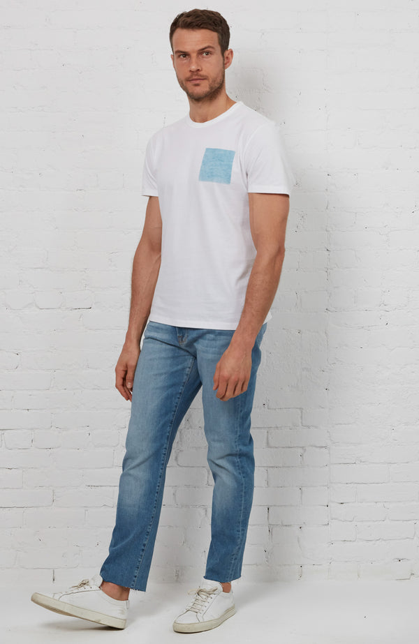 Blue Square Tee - White