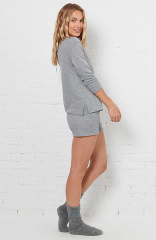 Women PJ Shorts - Heather Grey
