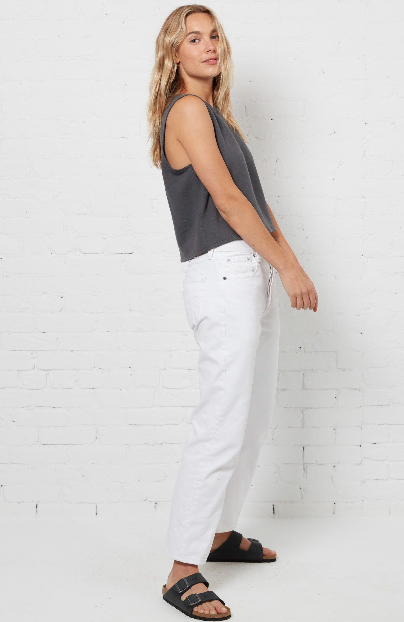 Katie Cropped Tank - Charcoal