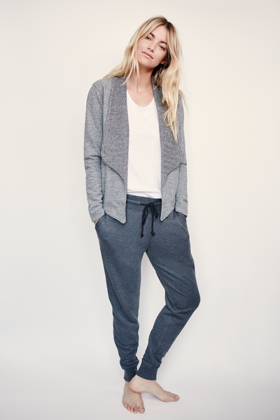Cropped Shawl Collar Cardigan - Grey