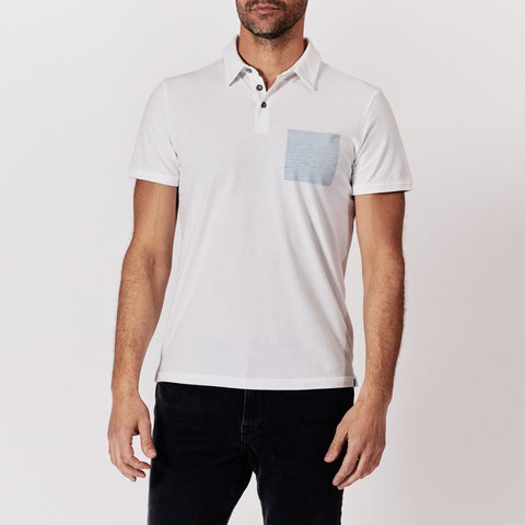Blue Square Polo - White/Blue