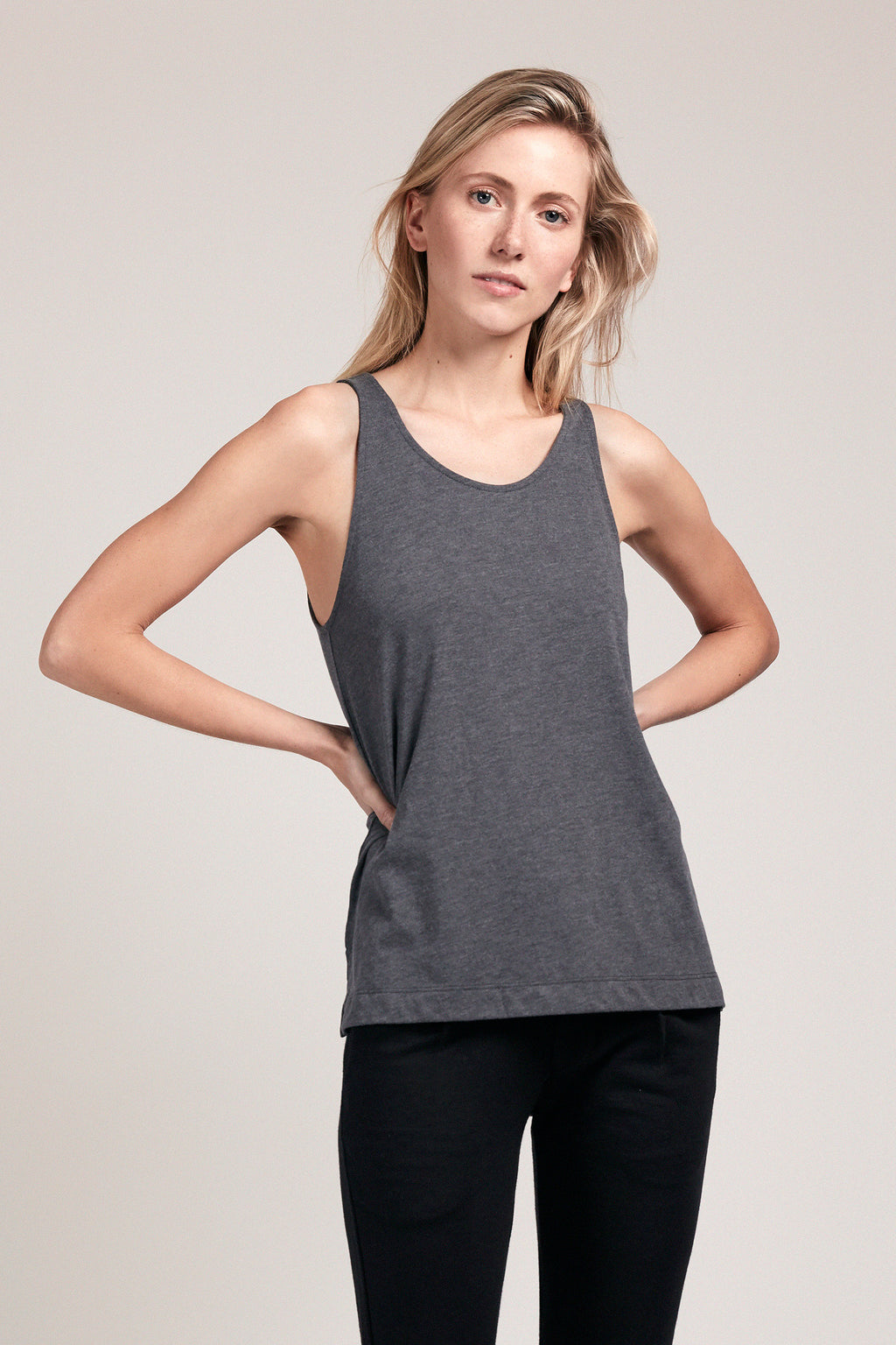 Scooped Neck Tank - Slate
