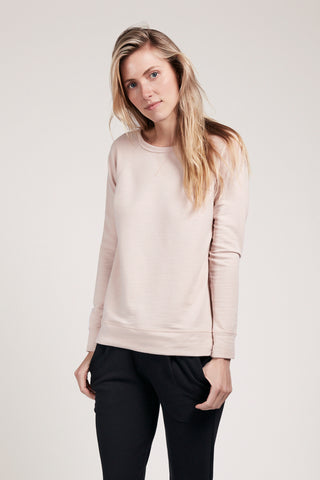 Wide Neck Sweatshirt - Rose