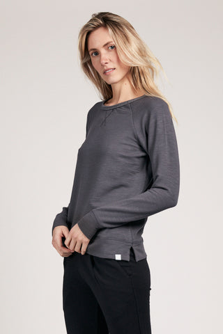Wide Neck Sweatshirt - Slate
