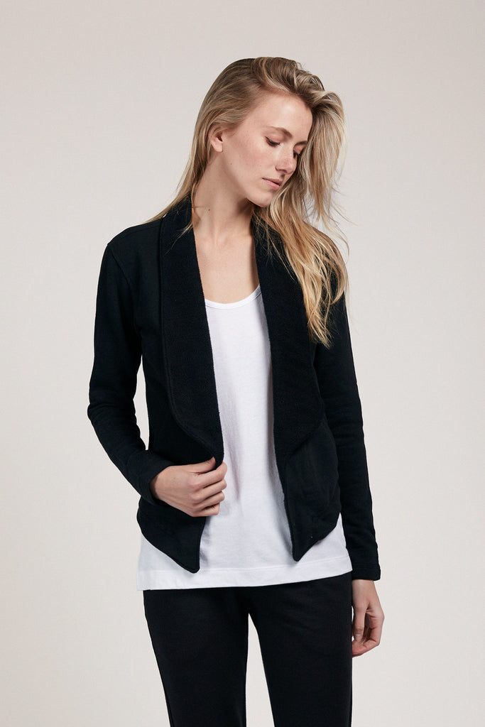 Cropped Shawl Collar Cardigan - Black
