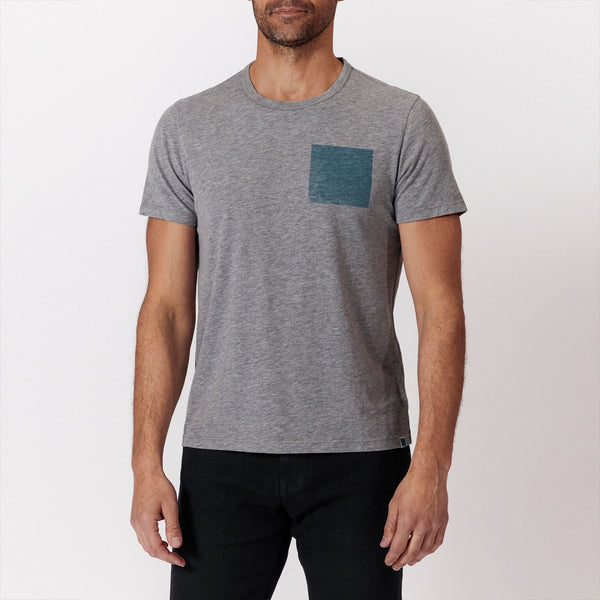 Blue Square T - Heather Grey/Blue