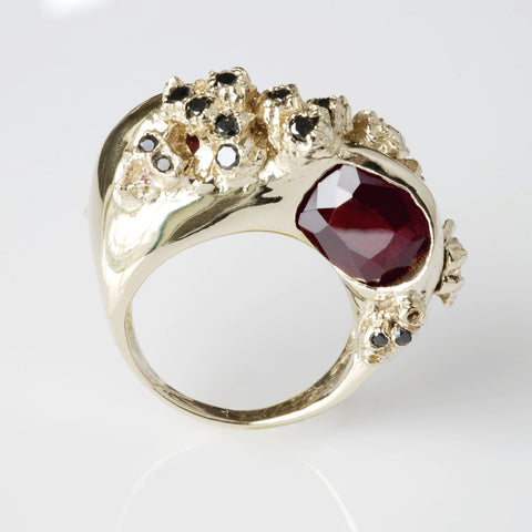 gold ring garnets 14K cocktail