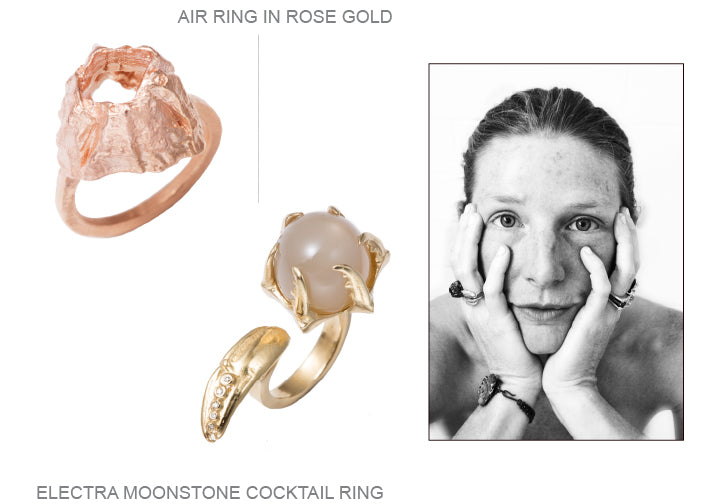 air, aire, electra, moonstone, claw, gold, diamond, rings