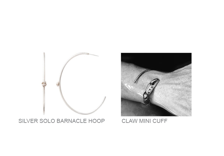 hoops, claw, bronze, mini, cuff, claw, silver